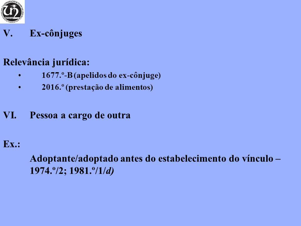 V.Ex-cônjuges Relevância jurídica: 1677.º-B (apelidos do ex-cônjuge) 2016.º (prestação de alimentos) VI.Pessoa a cargo de outra Ex.: Adoptante/adoptado antes do estabelecimento do vínculo – 1974.º/2; 1981.º/1/d)