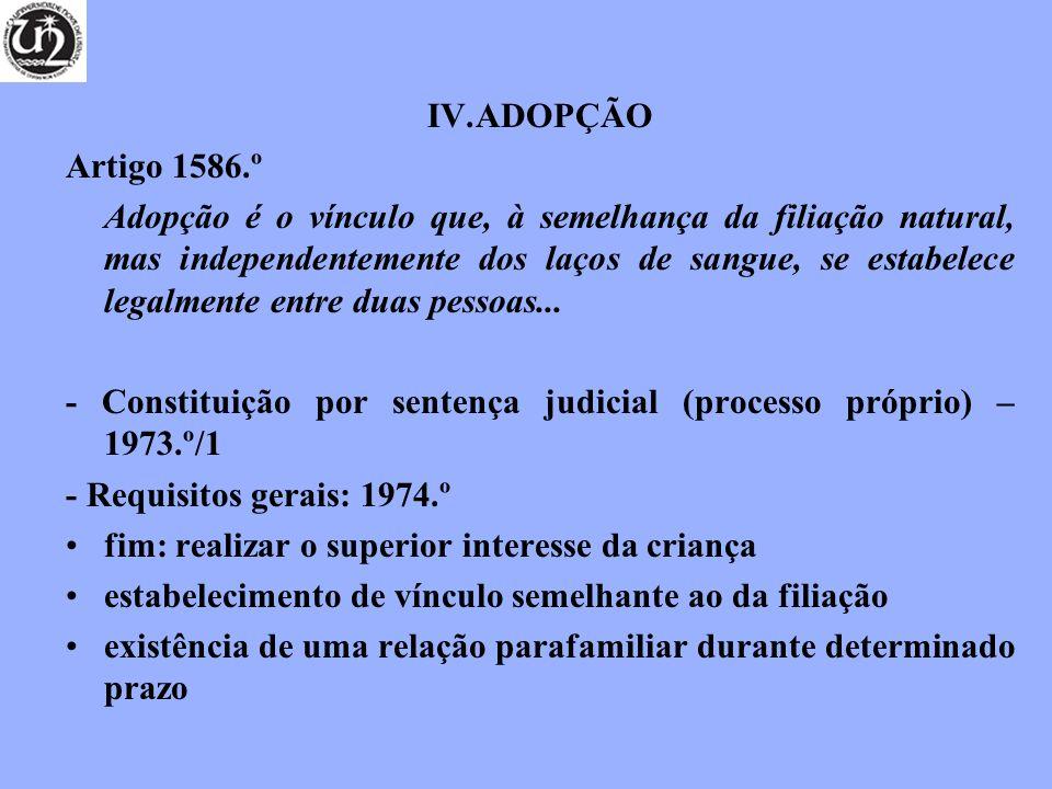 IV.ADOPÇÃO Artigo 1586.º Adopção é o vínculo que, à semelhança da filiação natural, mas independentemente dos laços de sangue, se estabelece legalmente entre duas pessoas...
