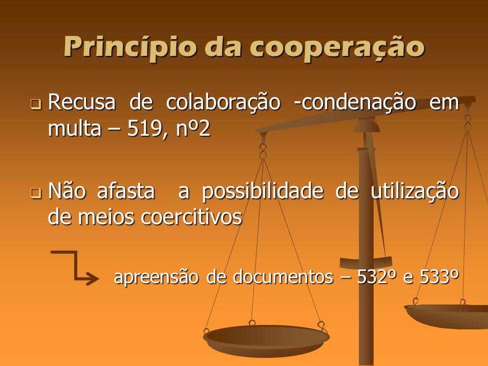 Princípio da cooperação Recusa de colaboração -condenação em multa – 519, nº2 Recusa de colaboração -condenação em multa – 519, nº2 Não afasta a possi