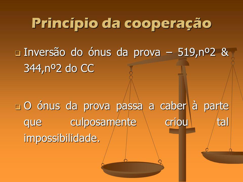 Princípio da cooperação Inversão do ónus da prova – 519,nº2 & 344,nº2 do CC Inversão do ónus da prova – 519,nº2 & 344,nº2 do CC O ónus da prova passa