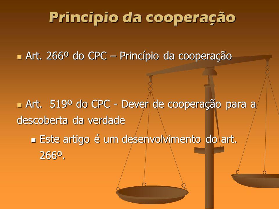 Princípio da cooperação Art. 266º do CPC – Princípio da cooperação Art. 266º do CPC – Princípio da cooperação Art. 519º do CPC - Dever de cooperação p