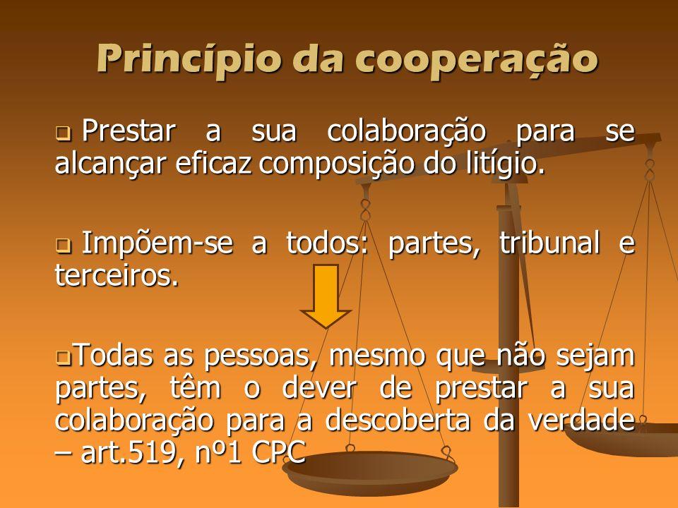 Princípio da cooperação Concretização Vários deveres processuais: Vários deveres processuais: Boa fé processual, art.