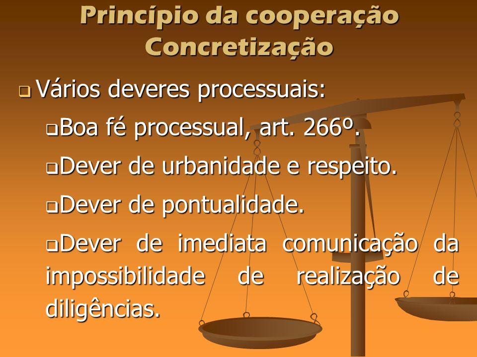 Princípio da cooperação Concretização Vários deveres processuais: Vários deveres processuais: Boa fé processual, art. 266º. Boa fé processual, art. 26