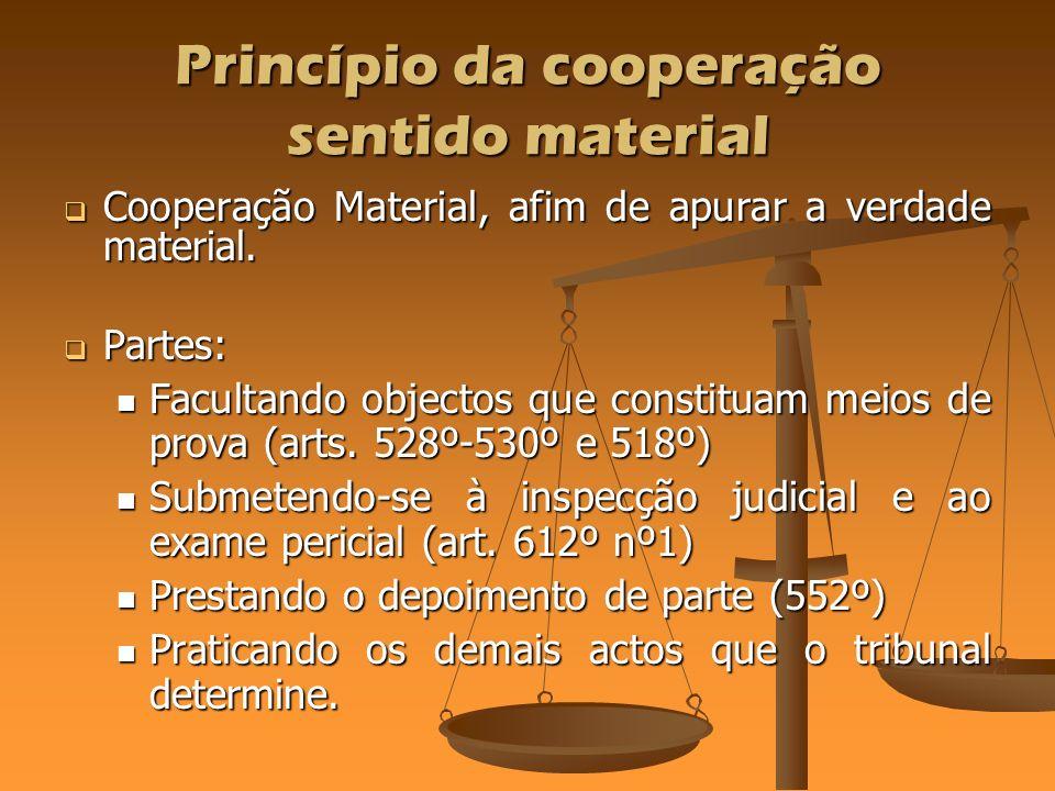 Princípio da cooperação sentido material Cooperação Material, afim de apurar a verdade material. Cooperação Material, afim de apurar a verdade materia