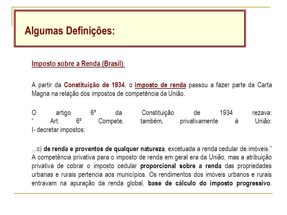 Imposto sobre a Renda (Brasil) : A partir da Constituição de 1934, o imposto de renda passou a fazer parte da Carta Magna na relação dos impostos de competência da União.
