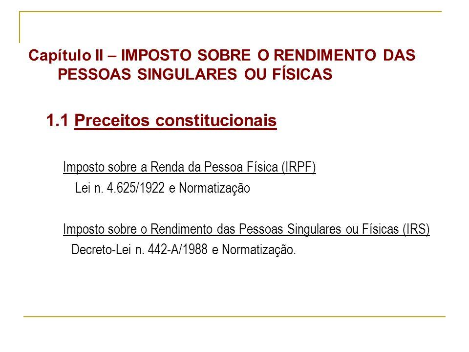 Capítulo II – IMPOSTO SOBRE O RENDIMENTO DAS PESSOAS SINGULARES OU FÍSICAS 1.1 Preceitos constitucionais Imposto sobre a Renda da Pessoa Física (IRPF) Lei n.