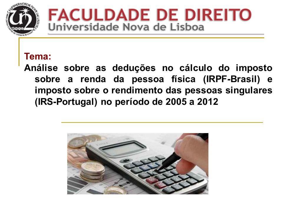 Tema: Análise sobre as deduções no cálculo do imposto sobre a renda da pessoa física (IRPF-Brasil) e imposto sobre o rendimento das pessoas singulares (IRS-Portugal) no período de 2005 a 2012