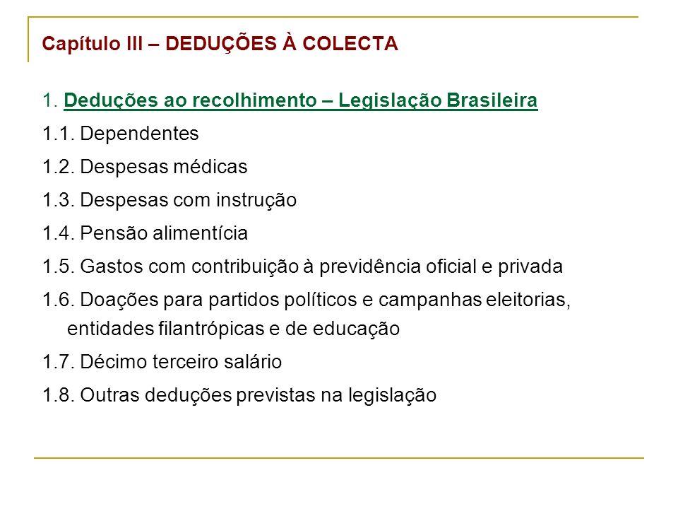 Capítulo III – DEDUÇÕES À COLECTA 1. Deduções ao recolhimento – Legislação Brasileira 1.1.