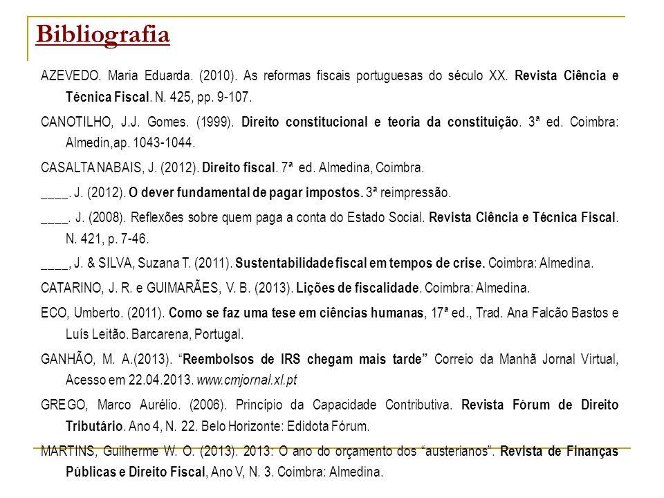 AZEVEDO. Maria Eduarda. (2010). As reformas fiscais portuguesas do século XX.