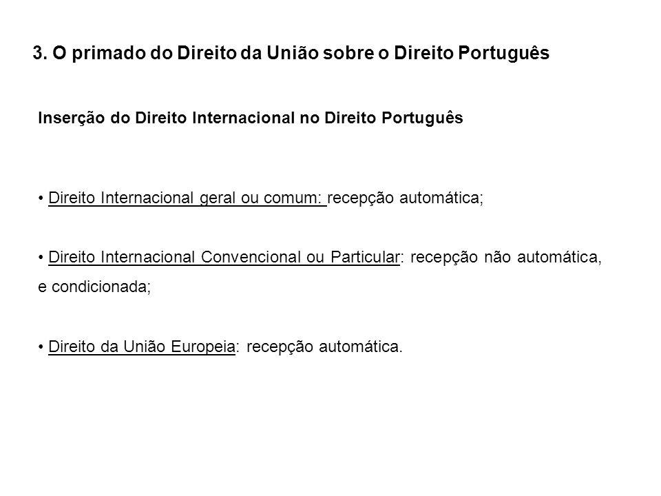 3. O primado do Direito da União sobre o Direito Português Inserção do Direito Internacional no Direito Português Direito Internacional geral ou comum