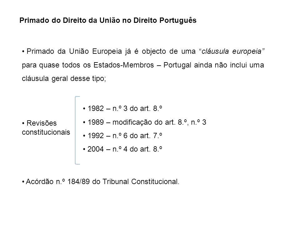Primado do Direito da União no Direito Português Primado da União Europeia já é objecto de uma cláusula europeia para quase todos os Estados-Membros –