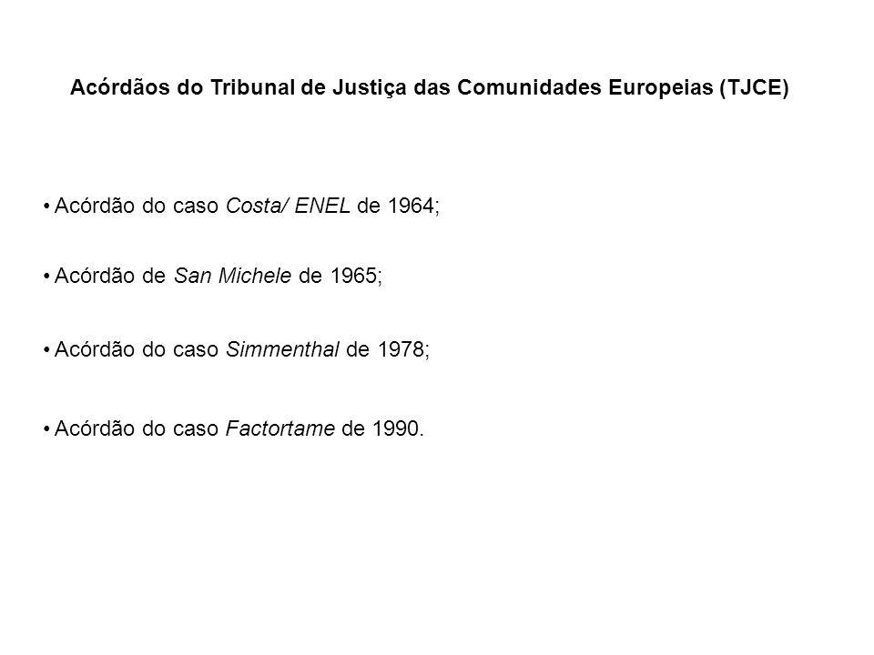Acórdãos do Tribunal de Justiça das Comunidades Europeias (TJCE) Acórdão do caso Costa/ ENEL de 1964; Acórdão de San Michele de 1965; Acórdão do caso