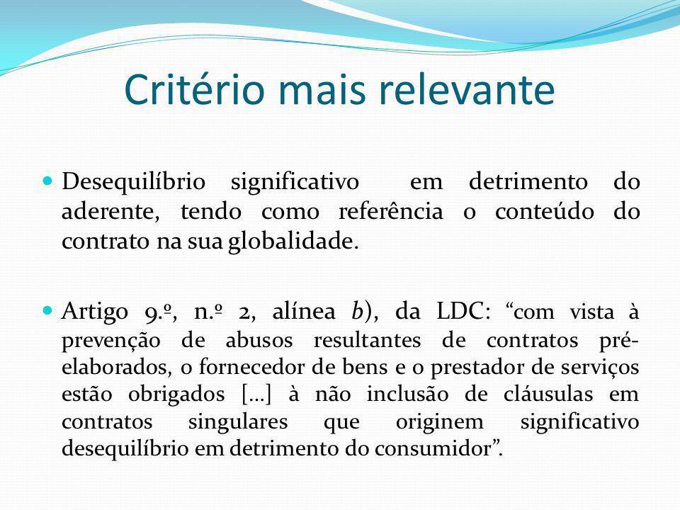 Critério mais relevante Desequilíbrio significativo em detrimento do aderente, tendo como referência o conteúdo do contrato na sua globalidade. Artigo