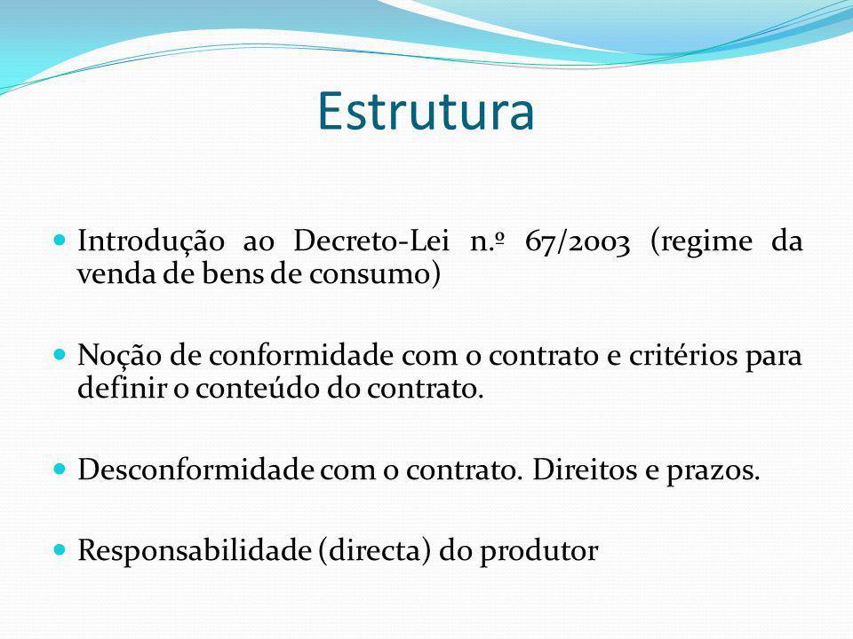 Estrutura Introdução ao Decreto-Lei n.º 67/2003 (regime da venda de bens de consumo) Noção de conformidade com o contrato e critérios para definir o c