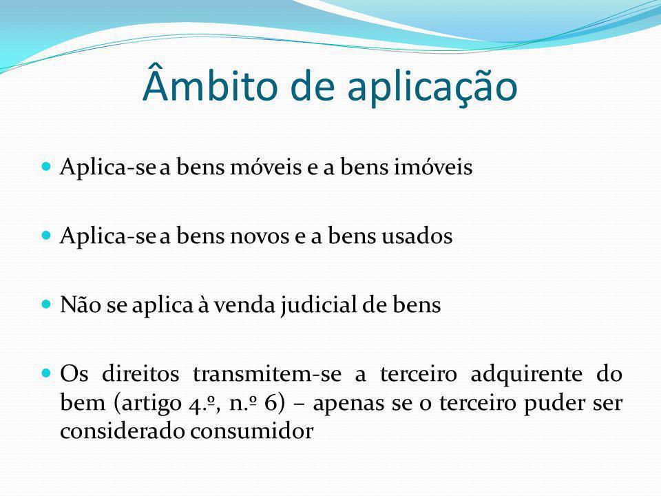 Âmbito de aplicação Aplica-se a bens móveis e a bens imóveis Aplica-se a bens novos e a bens usados Não se aplica à venda judicial de bens Os direitos