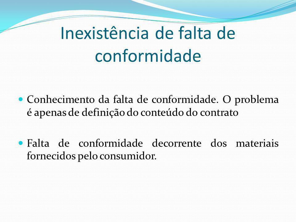 Inexistência de falta de conformidade Conhecimento da falta de conformidade. O problema é apenas de definição do conteúdo do contrato Falta de conform