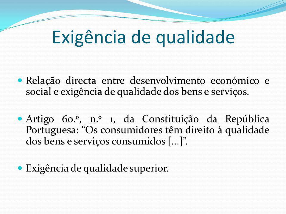 Exigência de qualidade Relação directa entre desenvolvimento económico e social e exigência de qualidade dos bens e serviços. Artigo 60.º, n.º 1, da C