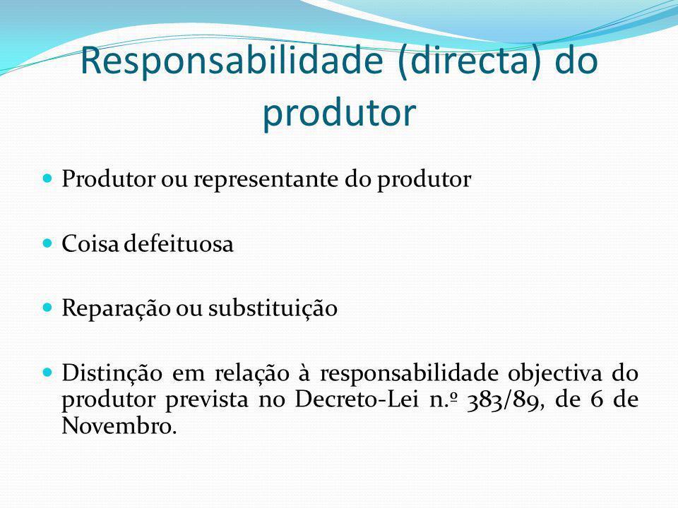 Responsabilidade (directa) do produtor Produtor ou representante do produtor Coisa defeituosa Reparação ou substituição Distinção em relação à responsabilidade objectiva do produtor prevista no Decreto-Lei n.º 383/89, de 6 de Novembro.