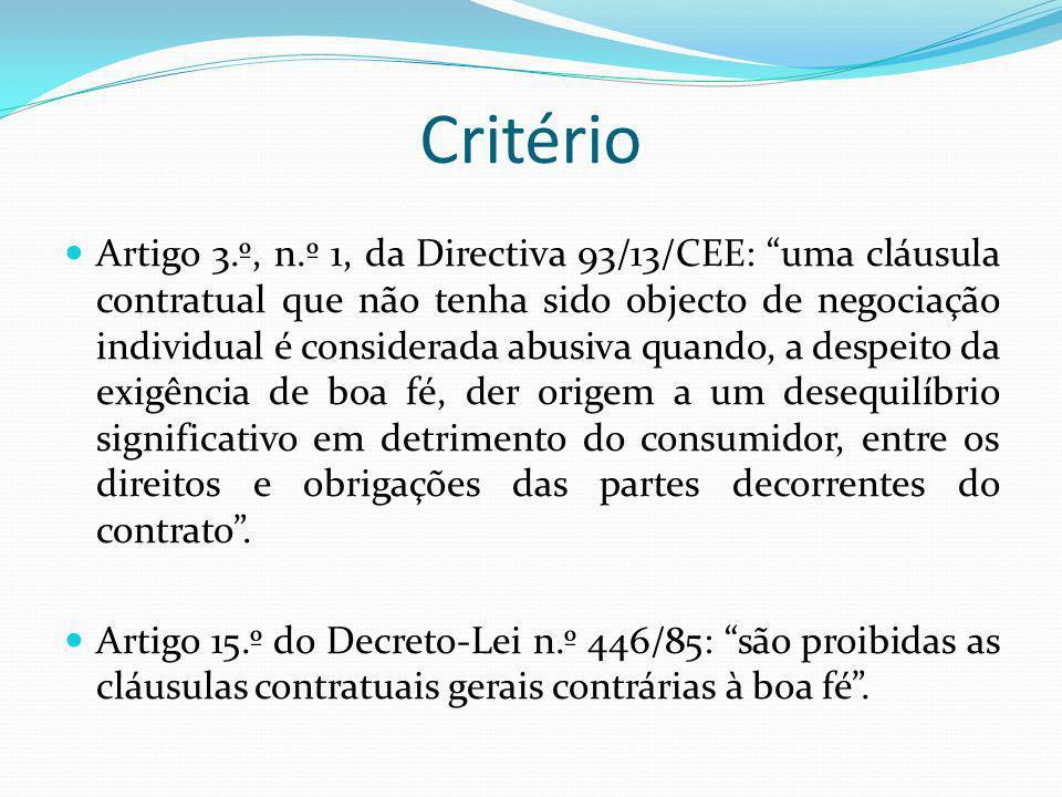 Critério Artigo 3.º, n.º 1, da Directiva 93/13/CEE: uma cláusula contratual que não tenha sido objecto de negociação individual é considerada abusiva quando, a despeito da exigência de boa fé, der origem a um desequilíbrio significativo em detrimento do consumidor, entre os direitos e obrigações das partes decorrentes do contrato.