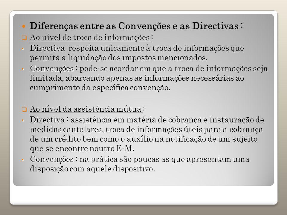 Diferenças entre as Convenções e as Directivas : Ao nível de troca de informações : Directiva Directiva: respeita unicamente à troca de informações qu