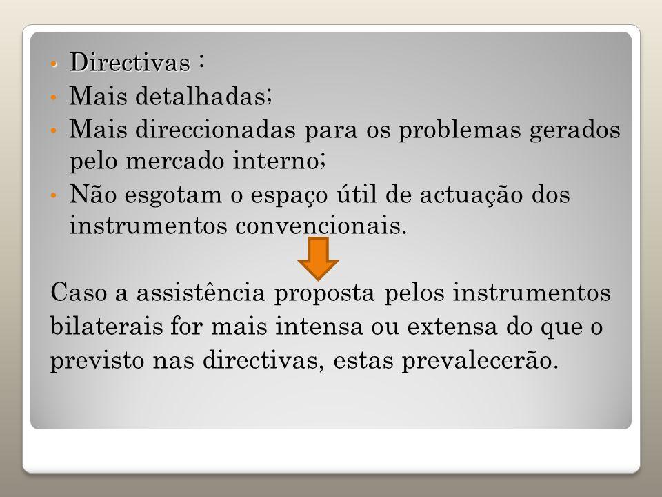 Directivas Directivas : Mais detalhadas; Mais direccionadas para os problemas gerados pelo mercado interno; Não esgotam o espaço útil de actuação dos