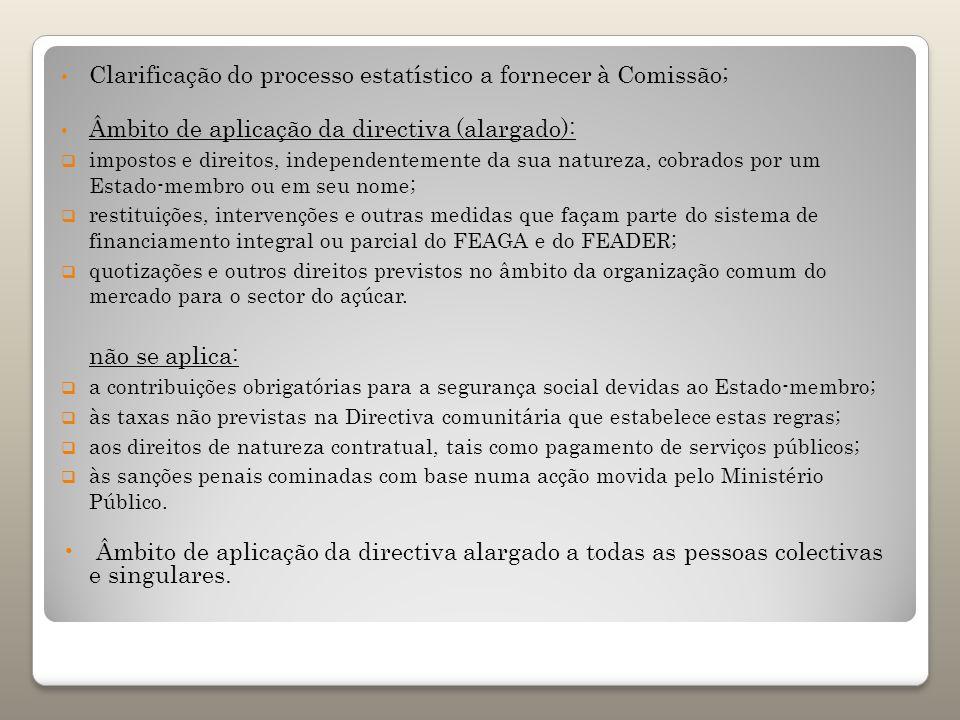Clarificação do processo estatístico a fornecer à Comissão; Âmbito de aplicação da directiva (alargado): impostos e direitos, independentemente da sua