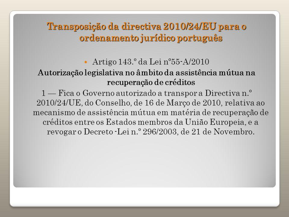 Transposição da directiva 2010/24/EU para o ordenamento jurídico português Artigo 143.º da Lei nº55-A/2010 Autorização legislativa no âmbito da assist