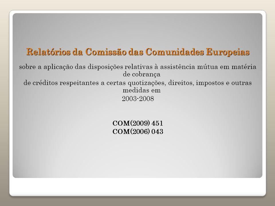 Relatórios da Comissão das Comunidades Europeias sobre a aplicação das disposições relativas à assistência mútua em matéria de cobrança de créditos re