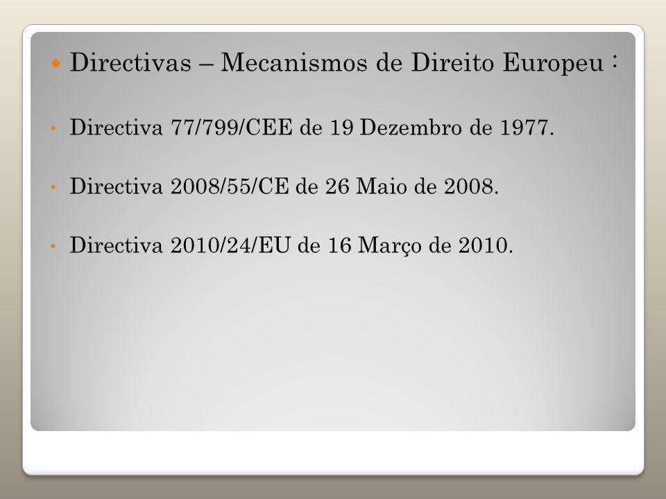 Directivas – Mecanismos de Direito Europeu : Directiva 77/799/CEE de 19 Dezembro de 1977. Directiva 2008/55/CE de 26 Maio de 2008. Directiva 2010/24/E