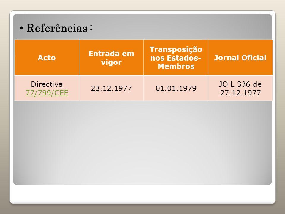Acto Entrada em vigor Transposição nos Estados- Membros Jornal Oficial Directiva 77/799/CEE 77/799/CEE 23.12.197701.01.1979 JO L 336 de 27.12.1977 Ref