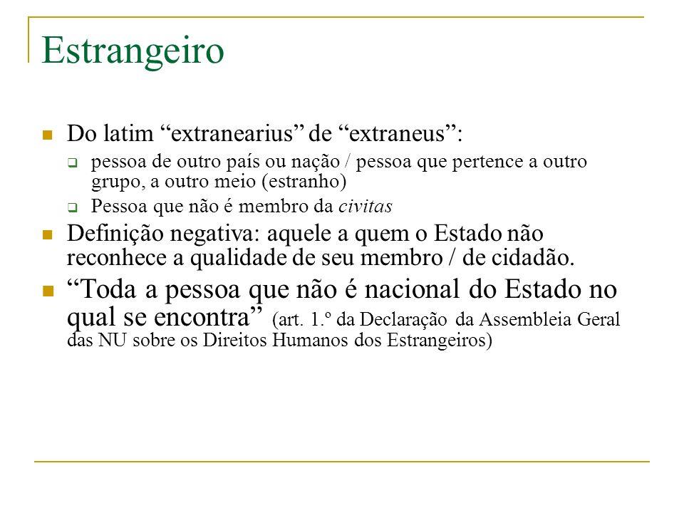 Estrangeiro Do latim extranearius de extraneus: pessoa de outro país ou nação / pessoa que pertence a outro grupo, a outro meio (estranho) Pessoa que