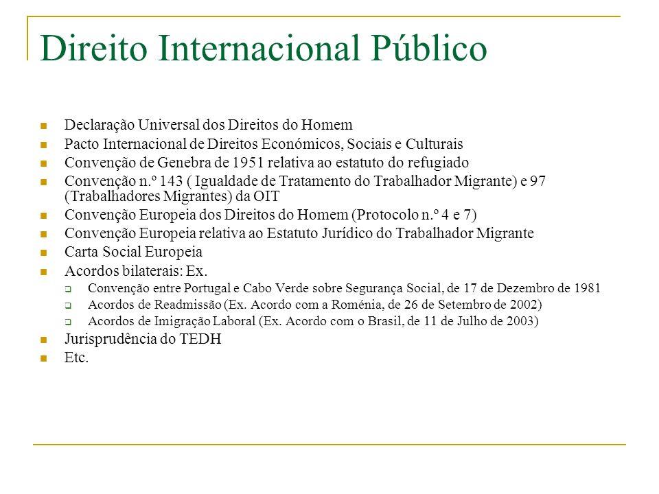 Direito Internacional Público Declaração Universal dos Direitos do Homem Pacto Internacional de Direitos Económicos, Sociais e Culturais Convenção de Genebra de 1951 relativa ao estatuto do refugiado Convenção n.º 143 ( Igualdade de Tratamento do Trabalhador Migrante) e 97 (Trabalhadores Migrantes) da OIT Convenção Europeia dos Direitos do Homem (Protocolo n.º 4 e 7) Convenção Europeia relativa ao Estatuto Jurídico do Trabalhador Migrante Carta Social Europeia Acordos bilaterais: Ex.
