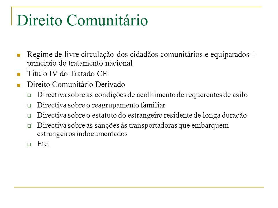 Direito Comunitário Regime de livre circulação dos cidadãos comunitários e equiparados + princípio do tratamento nacional Título IV do Tratado CE Dire