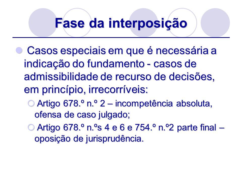 Fase da interposição Casos especiais em que é necessária a indicação do fundamento - casos de admissibilidade de recurso de decisões, em princípio, ir