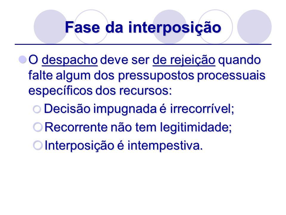 Fase da interposição O despacho deve ser de rejeição quando falte algum dos pressupostos processuais específicos dos recursos: O despacho deve ser de
