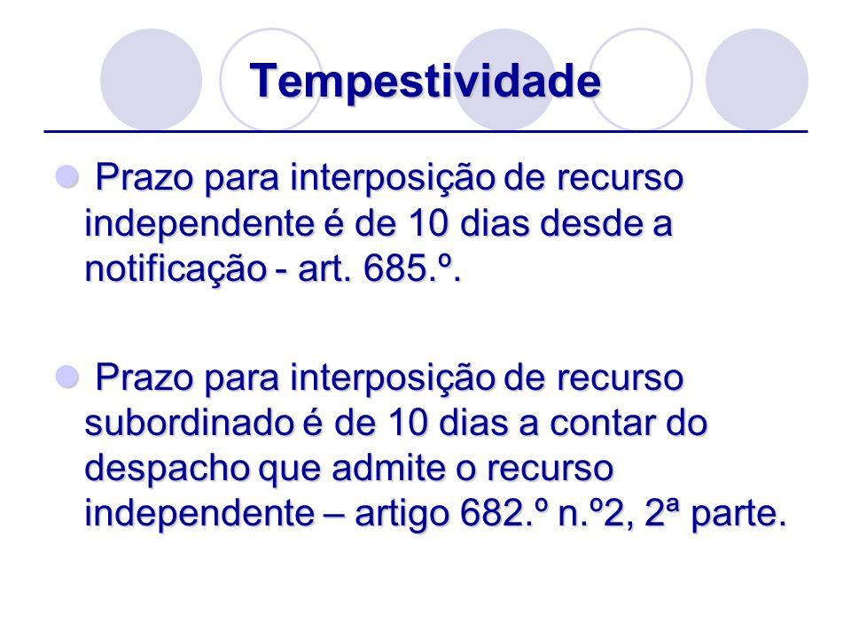 Tempestividade Prazo para interposição de recurso independente é de 10 dias desde a notificação - art. 685.º. Prazo para interposição de recurso indep