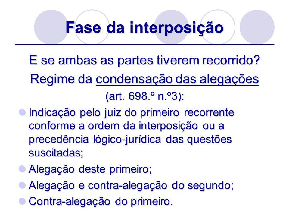 Fase da interposição E se ambas as partes tiverem recorrido? Regime da condensação das alegações (art. 698.º n.º3): Indicação pelo juiz do primeiro re
