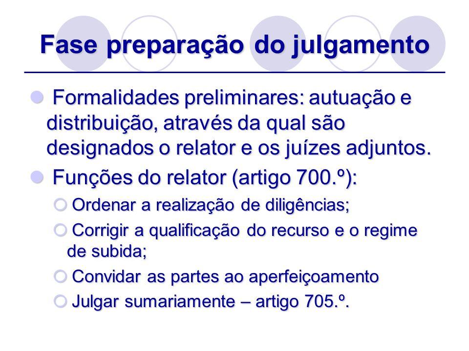 Fase preparação do julgamento Formalidades preliminares: autuação e distribuição, através da qual são designados o relator e os juízes adjuntos. Forma