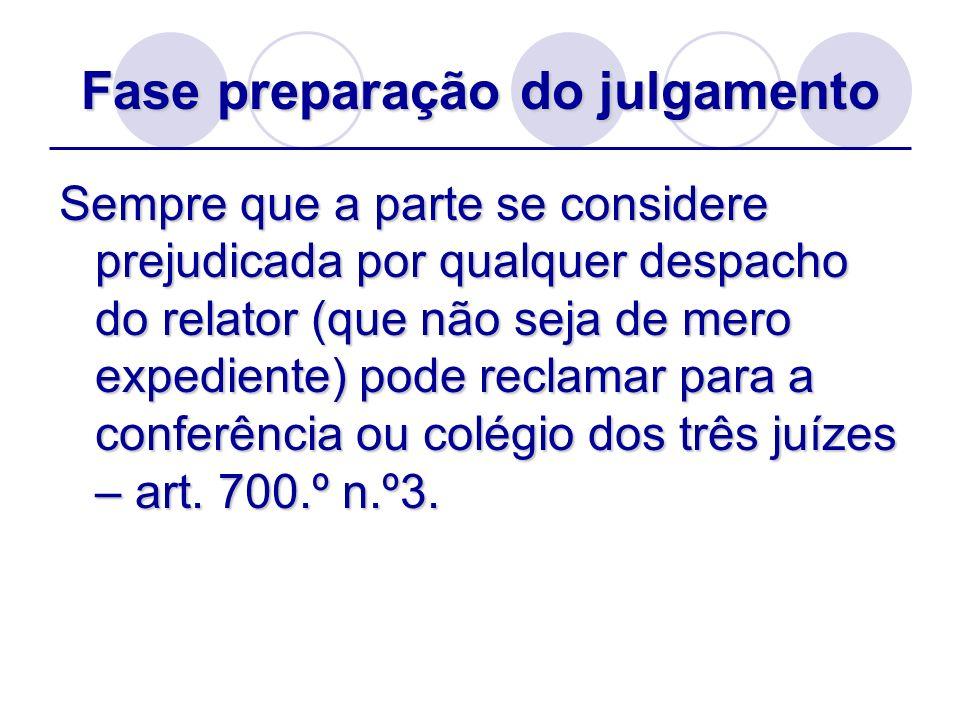 Fase preparação do julgamento Sempre que a parte se considere prejudicada por qualquer despacho do relator (que não seja de mero expediente) pode recl