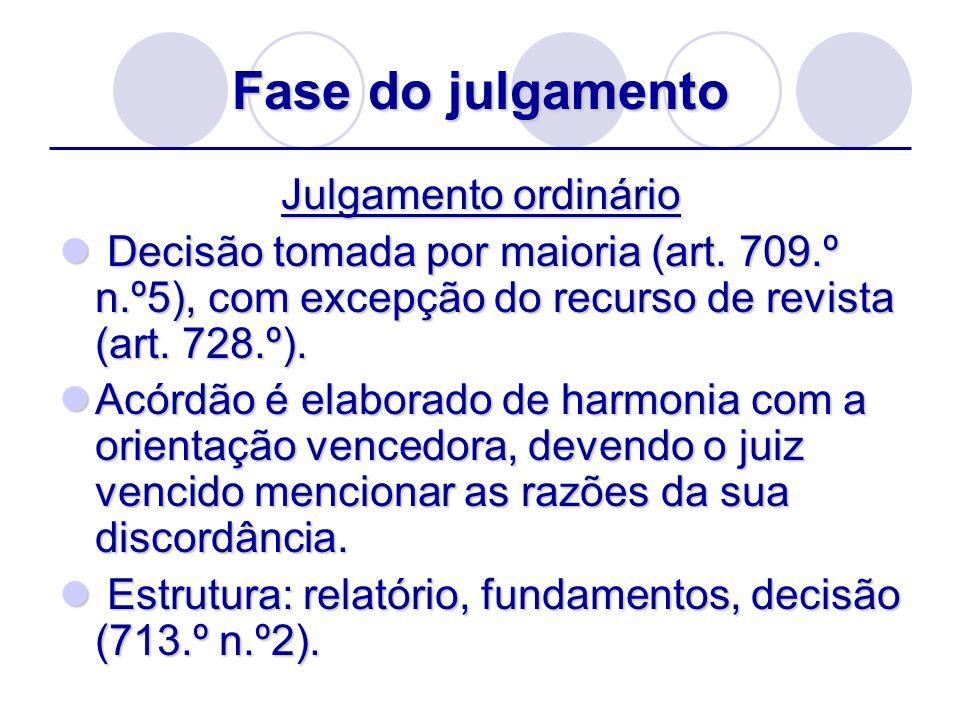 Fase do julgamento Julgamento ordinário Decisão tomada por maioria (art. 709.º n.º5), com excepção do recurso de revista (art. 728.º). Decisão tomada