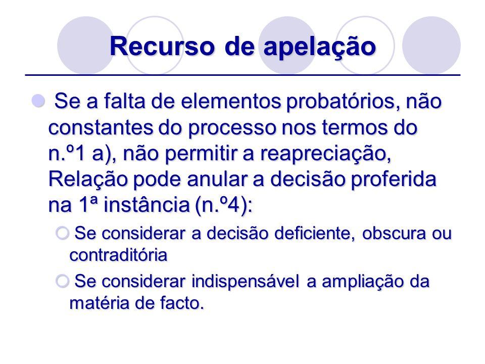 Recurso de apelação Se a falta de elementos probatórios, não constantes do processo nos termos do n.º1 a), não permitir a reapreciação, Relação pode a