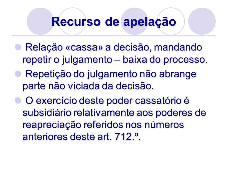 Recurso de apelação Relação «cassa» a decisão, mandando repetir o julgamento – baixa do processo. Relação «cassa» a decisão, mandando repetir o julgam