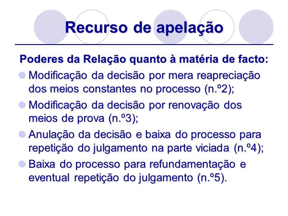 Recurso de apelação Poderes da Relação quanto à matéria de facto: Modificação da decisão por mera reapreciação dos meios constantes no processo (n.º2)