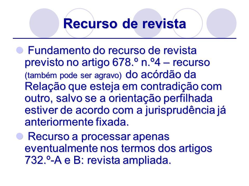 Recurso de revista Fundamento do recurso de revista previsto no artigo 678.º n.º4 – recurso (também pode ser agravo) do acórdão da Relação que esteja