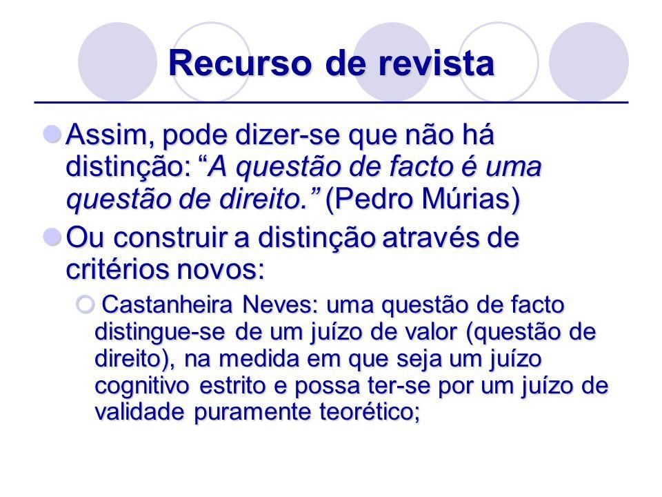 Recurso de revista Assim, pode dizer-se que não há distinção: A questão de facto é uma questão de direito. (Pedro Múrias) Assim, pode dizer-se que não