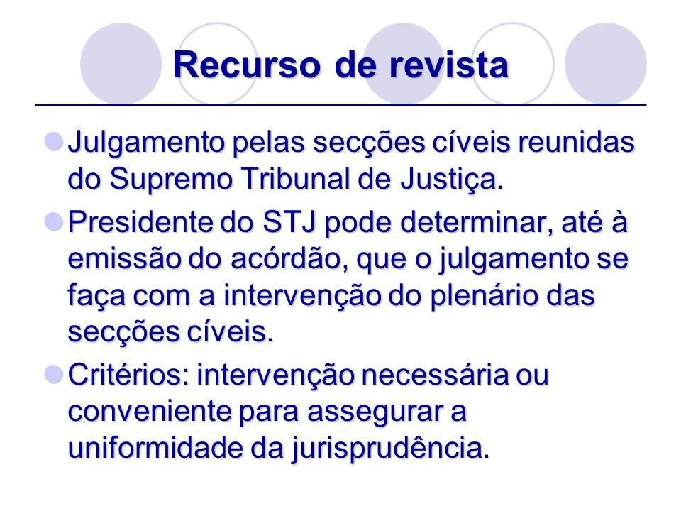 Recurso de revista Julgamento pelas secções cíveis reunidas do Supremo Tribunal de Justiça. Julgamento pelas secções cíveis reunidas do Supremo Tribun