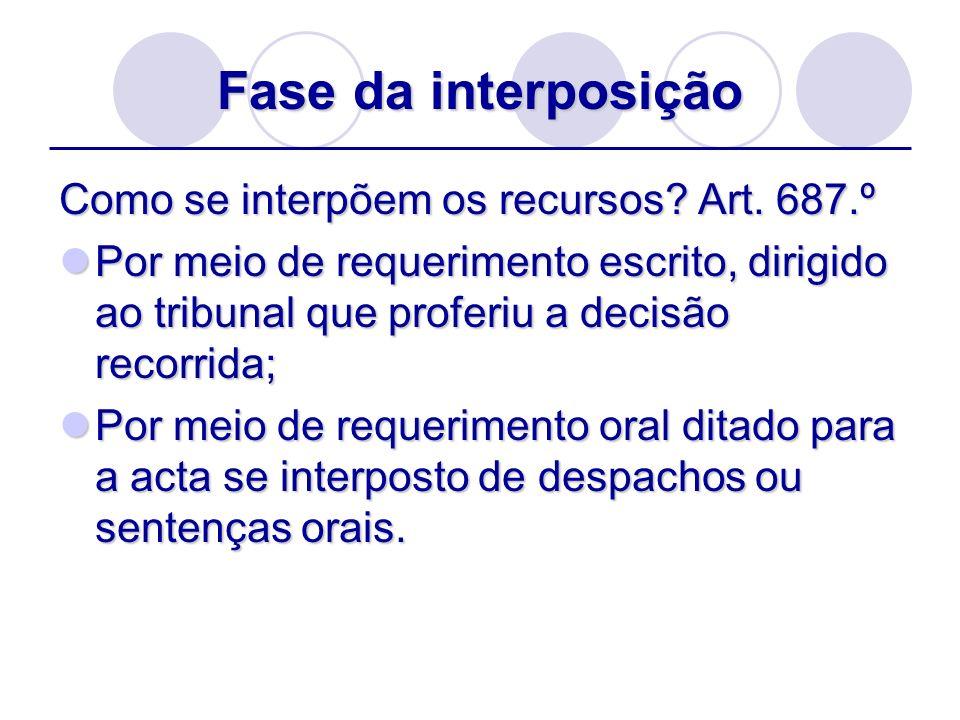 Fase da interposição Como se interpõem os recursos? Art. 687.º Por meio de requerimento escrito, dirigido ao tribunal que proferiu a decisão recorrida