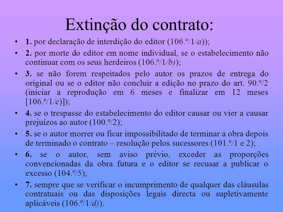 Extinção do contrato: 1. por declaração de interdição do editor (106.º/1/a)); 2. por morte do editor em nome individual, se o estabelecimento não cont