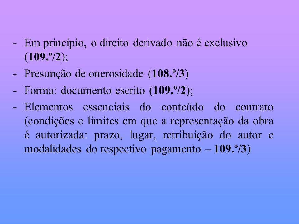 -Em princípio, o direito derivado não é exclusivo (109.º/2); -Presunção de onerosidade (108.º/3) -Forma: documento escrito (109.º/2); -Elementos essen