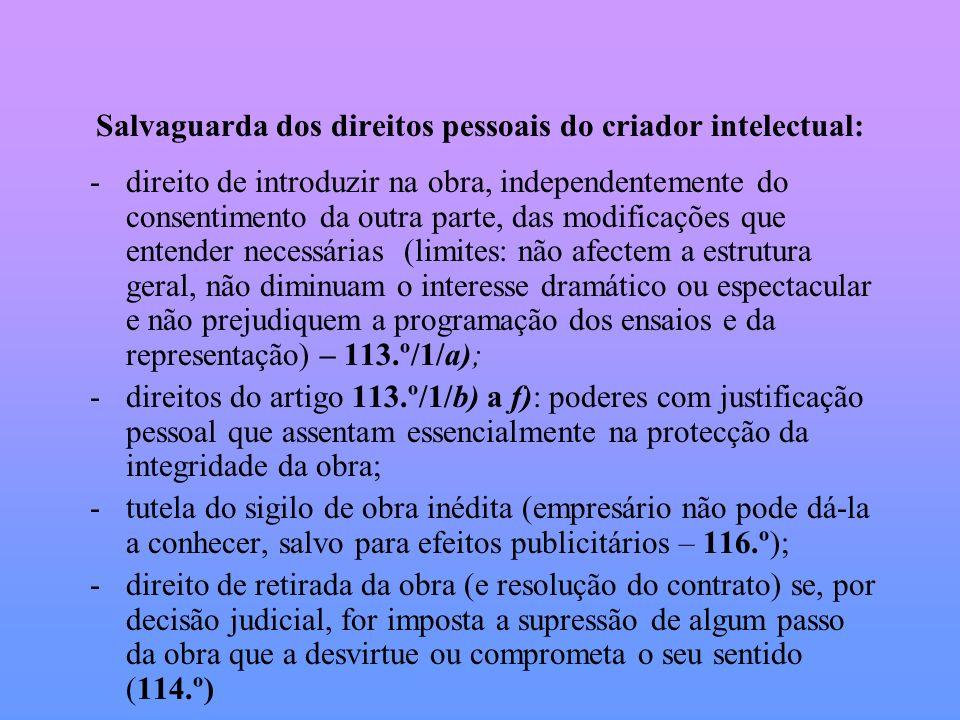Salvaguarda dos direitos pessoais do criador intelectual: -direito de introduzir na obra, independentemente do consentimento da outra parte, das modif